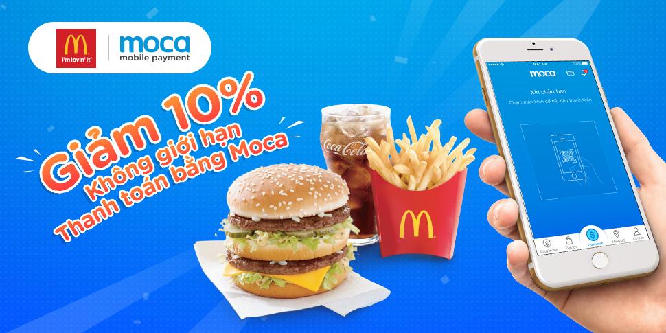 Giảm ngay 10% khi thanh toán tại McDonald's bằng Moca