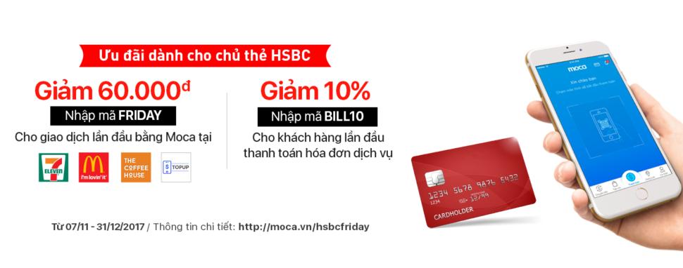 Liên Kết Thẻ HSBC Cùng Moca Nhận Ngay Giảm Giá 60.000đ