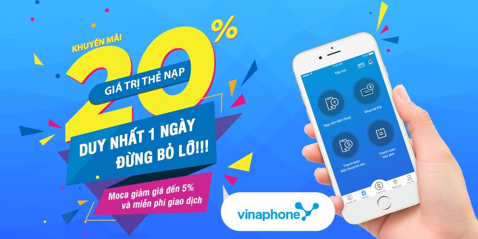 Buổi sáng hứng khởi dành cho thuê bao Vinaphone trả trước – khuyến mãi 20% giá trị thẻ nạp HÔM NAY 27/03/2018