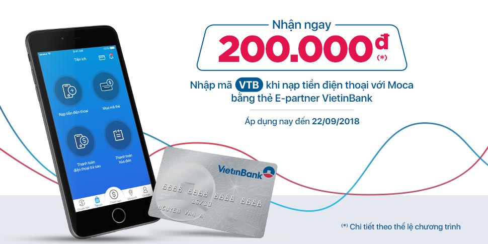 Gắn thẻ VietinBank – Nạp tiền điện thoại thật nhanh