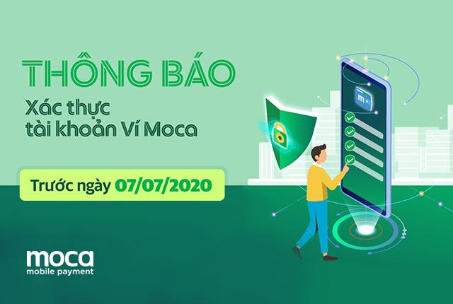 Thông báo về việc xác thực tài khoản Ví Moca